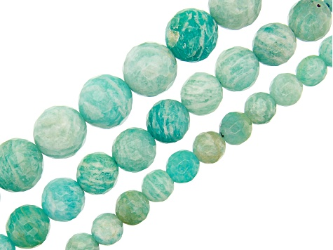 Russian Amazonite Faceted Round appx 6, 8 & 10mm Bead Strand Set of 3 appx 15-16