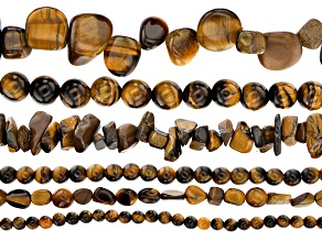 Tiger's Eye Bead Strand Set of 6 in Assorted Shapes appx 15-16