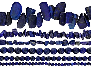 Lapis Lazuli Bead Strand Set of 6 in Assorted Shapes appx 15-16