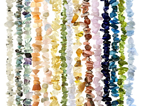 Assorted Gemstone Chip appx 5-8mm Bead Strand Set of 15 appx 32-34