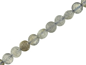 Labradorite Diamond Cut Faceted Coin appx 4mm Bead Strand appx 16