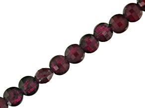 Rhodolite Garnet Diamond Cut Faceted Coin appx 4mm Bead Strand appx 16
