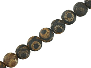 DZI Quench Cracked Black Agate Eye appx 8mm Round Bead Strand appx 15-16