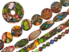 Mardi Gras Stone Bead Strand Set of 4 appx 8