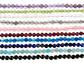 Bead Strand Set of 10 Multi-Gemstone Faceted appx 3mm Round appx 15-16""