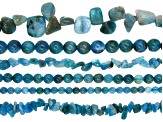 Neon Apatite Bead Strand Set of 6 in Assorted Shapes appx 15-16
