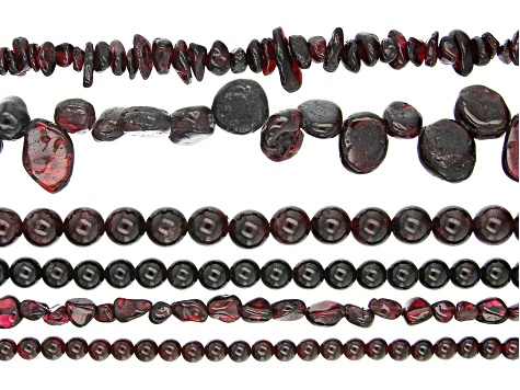 Garnet Bead Strand Set of 6 in Assorted Shapes appx 15-16
