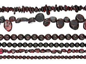 Garnet Bead Strand Set of 6 in Assorted Shapes appx 15-16""