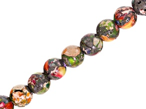 Mardi Gras Stone appx 8mm Round Large Hole Bead Strand appx 8