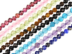 Multi-Gemstone Bead Strand Set of 8 Faceted appx 2mm Round appx 15-16