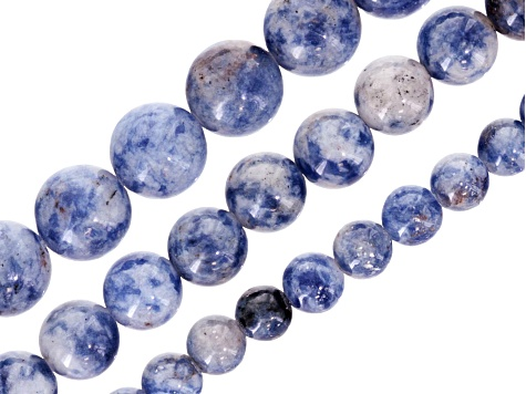 Polished White Denim Sodalite Round appx 6, 8 & 10mm Bead Strand Set of 3 appx 15-16
