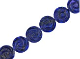 Lapis Lazuli Flat Round Carved Rose Flower appx 16mm Bead Strand appx 15-16