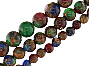 Mosaic Quartz in Multi-Color Bead Strand Set of 3 in appx 6, 8 & 10mm appx 15-16