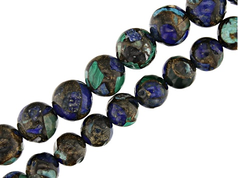 Round Bead Strand Set of 2 Lapis Lazuli, Malachite & Turquoise Mix appx 15-16