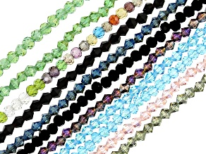 Faceted Chinese Glass Bead Strand Set of 11 appx 3-3.5mm in Assorted Colors appx 15-16