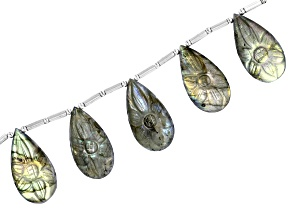 Labradorite appx 26x14mm Carved Flower Drop Shape Bead Strand Includes 5 Beads