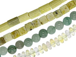 Multi-Stone Large Hole Bead Strand Set of 4 in Assorted Shapes appx 15-16