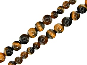 Tigers Eye Graduated Round appx 6-12mm Bead Strand Set of 2 appx 15-16
