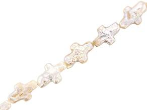 Creamy Freshwater Pearl Cross Shape appx 9x14mm Bead Strand appx 15-16