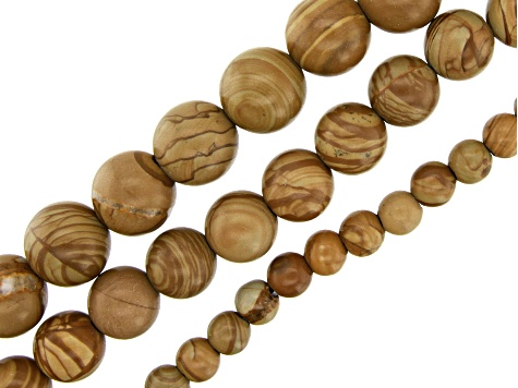 Onyx Marble Round appx 6,10 & 12mm Bead Strand Large appx 2mm Bead Hole Set of 3 appx 15-16""