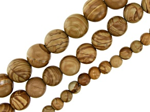 Onyx Marble Round appx 6,10 & 12mm Bead Strand Large appx 2mm Bead Hole Set of 3 appx 15-16