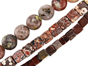Multi-Stone Round & Cube Shape appx 6, 8 & 12mm Large appx 2mm Hole Bead Strand Set of 3 appx 15-16