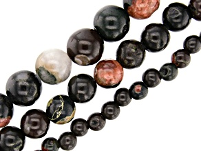 Plum Blossom Jasper Round appx 6, 10 & 12mm Large appx 2mm Hole Bead Strand Set of 3 appx 15-16