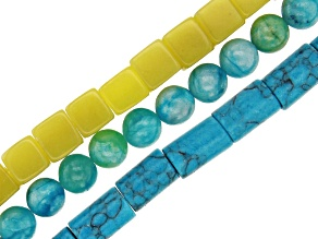 Multi-Stone Large appx 2mm Hole Bead Strand Set of 3 in Assorted Shapes appx 15-16