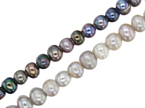 Cultured Freshwater Pearl Potato Shape appx 5.5-6.5mm Large Hole Bead Strand Set of 2 appx 8