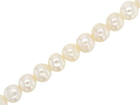 Cultured Freshwater Pearl Creamy Color Potato appx 7-8mm Large appx 2mm Hole Bead Strand appx 8