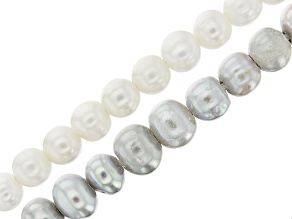 Cultured Freshwater Pearl White & Silver Color Potato Shape Large Hole Bead Strand Set of 2 appx 8