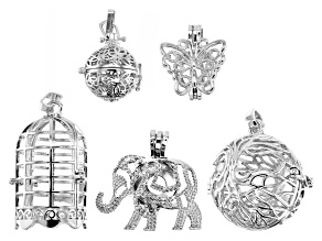 Diffuser Pendant Boxes Set of 5 in Silver Tone with Bail in Assorted Styles