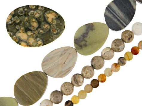 "Multi-Stone Bead Strand Set of 3 in Assorted Shapes appx 8"" 1 Oval Focal Piece"