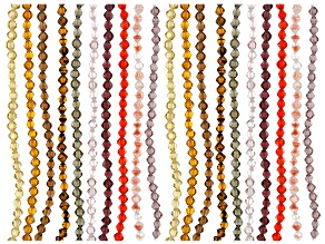 Czech Glass Bicones appx 6mm Bead Strand Set of 20 in Warm Colorway Appx 6