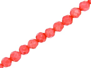 Pink Coral Faceted Round appx 4mm Diamond Cut Bead Strand appx 15-16