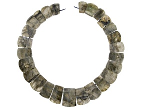 Labradorite Rounded Rough Collar Graduated Fancy Rectangle Bead Strand appx 14-15