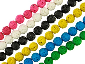 Lava Rock Appx 8mm Round Bead Strand Set of 6 in Assorted Colors Appx 15-16