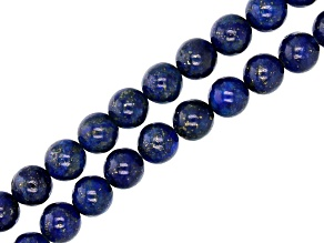 Lapis Lazuli Appx 8mm Round Bead Strand Set of 2 appx 15-16