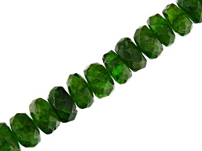 Chrome Diopside Graduated Faceted Rondelle appx 4.5-7mm Bead Strand appx 17-18