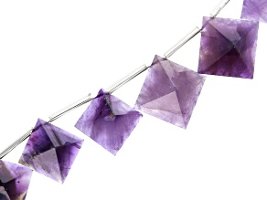 Amethyst Faceted Top Drilled Pyramid Shape appx 12-16mm Bead Strand appx 15-16