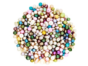 1lb Cultured Freshwater Pearl Bag in White & Assorted Pastel Colors in Assortment of Shapes & Sizes