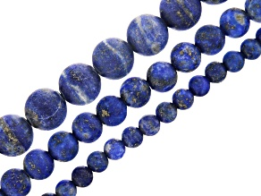 Lapis Lazuli Matte Round appx 4, 6 & 8mm Bead Strand Set of 3 appx 15-16