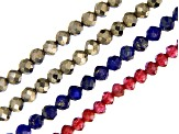 Pyrite, Garnet & Lapis Lazuli Faceted Round Bead Strand Set of 4 appx 12-13