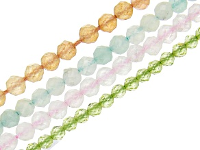 Rose Quartz, Amazonite, Peridot & Orange Quartzite Faceted Round Bead Strand Set of 4 appx 12-13