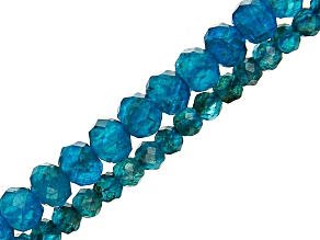 Neon Apatite Faceted Round Bead Strand Set of 2 appx 12-13