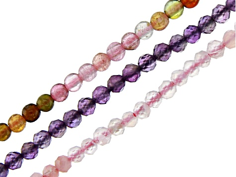 Multi-Tourmaline, Pink Opal & Amethyst Round appx 2-2.5mm Bead Strand Set of 3 appx 12-13