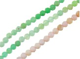 Pink Opal & Chrysoprase Faceted Round appx 2-2.5mm Bead Strand Set of 3 appx 12-13