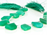 Green Chalcedony graduated fancy faceted nugget shape beads appx 15x10mm-20x15mm strand appx 8
