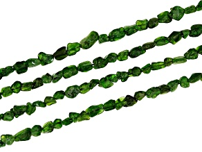Chrome Diopside bead strand set of 4 appx 3-8mm nugget shape appx 15-16