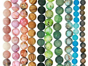 Multi-Stone Matte Round appx 4-6mm Bead Strand Set of 10 appx 15-16